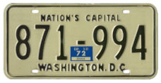 1968 (exp. 3-31-69) Passenger plate no. 871-994 validated for 1971 (exp. 3-31-72)