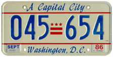 1984 Passenger plate no. 045-654 validated for 1985-86 (exp. Sept. 1986)