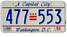 1984 Passenger plate no. 477-553 validated for 1991-1992 (exp. Jan. 1992)