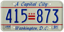 1984 Passenger plate no. 415-873 validated for 1990-1991 (exp. Jan. 1991)