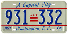 1984 Passenger plate no. 931-332 validated for 1984-85 (exp. Nov. 1985)