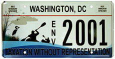 Anacostia River Commemorative License Plate no. ENV 2001, issued Aug. 26, 2010