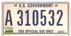 U.S. Dept. of Agriculture license plate