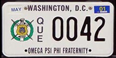 Omega Psi Phi organizational plate no. QUE 0042