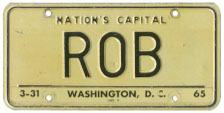 1964 base Personalized plate no. ROB validated for 1964 (exp. 3-31-65)