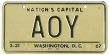 1964 base Personalized plate no. AOY validated for 1966 (exp. 3-31-67)