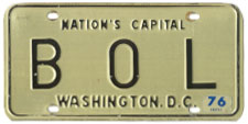 1968 base Personalized plate no. B O L validated for 1975 (exp. 3-31-76)