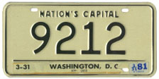 1964 base Personalized plate no. 9212 validated through March 1981