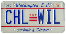 1991 base Personalized plate no. CHL-WIL validated through Dec. 2002