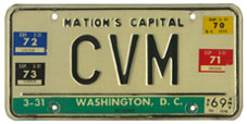 1964 base Personalized plate no. CVM validated through March 1973