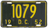 1952 Reserved Passenger plate no. 1079