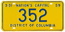 1958 Reserved plate no. 352