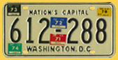 1968 plate no. 612-288 validated through March 1974