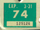 1973 (exp. 3-31-74) sticker, white on green