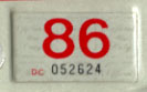 1985 (expires 1986) sticker, red on white
