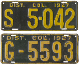 1927 plates numbered S 5-042 and G-5593