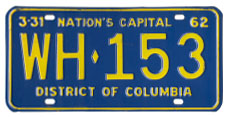 1961 plate no. WH-153